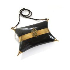 Vintage Black Horn and Brass Purse by lakesidecottage on Etsy, $89.00