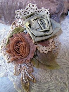 OOAK silk corsage wedding corsage silk rose brooche by suziqu