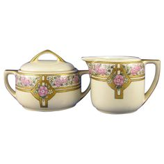 "Moritz Zdekauer (MZ) Austria Art Deco Floral Design Creamer & Sugar Set (Signed ""J. Reid""/c.1916-1920)"