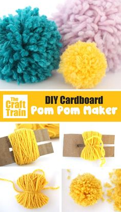 diy cardboard crafts how to make pom poms with a super easy DIY pom pom maker. There is a free printable template, simple trace onto cardboard and create your pom pom maker to create gorgeous, fluffy yarn pom poms easily and quickly! Fun Crafts For Kids, Easy Diy Crafts, Craft Stick Crafts, Diy Crafts To Sell, Diy Decorations Crafts, Creative Crafts, Diy Crafts With Yarn, Yarn Crafts Kids, Easy Diys For Kids