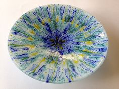 Fused glass bowl with enamel design made by Janice Bradshaw 38cm