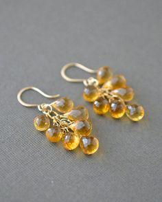 November birthstone earrings, citrine cluster earrings