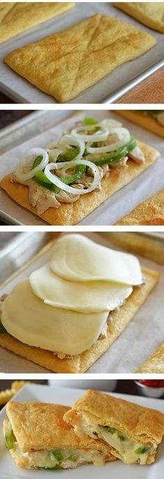 Crescent Chicken Cheesesteaks Recipe