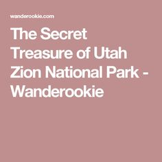 The Secret Treasure of Utah Zion National Park - Wanderookie