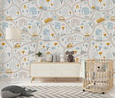 Cars, Road, Park, Houses Wallpaper for Nursery Wallpaper - 24W x 120H / Smooth Vinyl