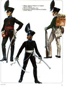 Ducato di Brunswick - 1) Ufficiale, Reggimento Fanteria al servizio britannico - 2) Ufficiale, Leib-Battalion, 1815 - 3) Tiratore scelto, Reggimento Fanteria al servizio britannico, 1815