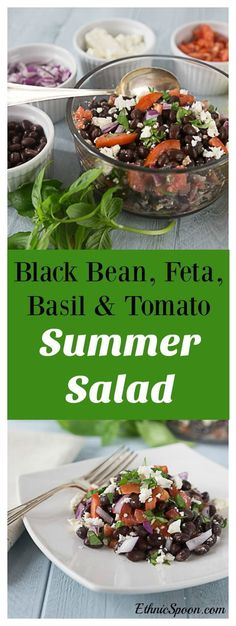 A great clean eating, healthy recipe. Black bean, feta, basil, red onion and tomato salad. A healthy and delicious summer dish that's easy to prepare and goes well with all your summer meals! | ethnicspoon.com