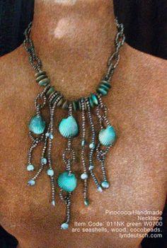 Emerald green seashells jewellery...http://lyndeutsch.com/?p=6494