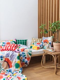 A colorful Marimekko pattern Decor, Home Collections, House Design, Interior, Marimekko Pattern, Home Decor, Dreamy Bedrooms, Bedding Sets Online, Bed