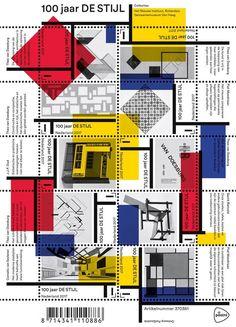 100 jaa DE STIJL commemorative stamps, designed by Studio PutGootink.