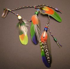 Parrot feather hair clip long feather hair by FeathersnThingz