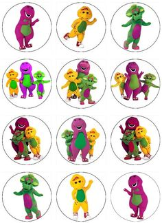 Edible BARNEY  Cupcake Toppers 12 edible images  for Cupcakes, cookies, brownies or any dessert birthday