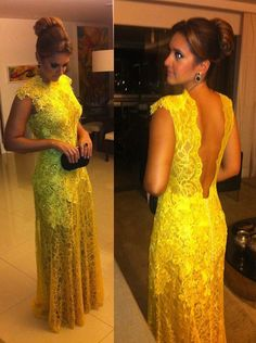Modest styles Scoop Backless Yellow See Through beading Lace Made dresses for prom 2014 long dress prom dresses $125.00