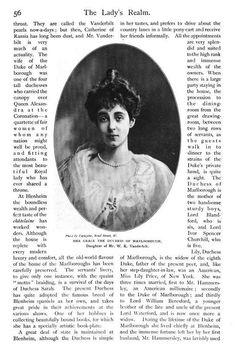 The Lady's Realm (1904) American Peereses. Her Grace The Duchess of Marlborough, Daughter of Mr. W. K. Vanderbilt. Consuelo Vanderbilt.