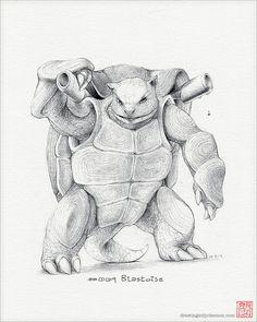 Blastoise 8 x 10 print pokemon drawing art by RockyHammerEtsy