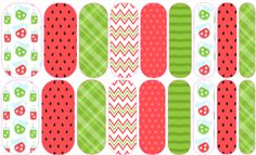 Watermelon Love (Mixed Mani) Jamberry Nail Art Studio: Just what you need on a hot summer day to cool off! This delightful and fun pattern will bring a smile to your face. Artwork © South Street Creative | www.southstreetcreative.etsy.com