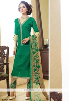 2 Piece Combo Pack In Black And Green Color Pant Style Salwar Suit