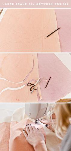 How to Create Large Scale Artwork for Under $15. Click through for the full tutorial on this sewn canvas piece of art. #art #diy #diyart #artwork #abstractart #largescaleart #livingroom #homedecor #ficusaudrey Art Diy, Diy Wall Art, Hanging Wall Organizer, Large Artwork, Diy Artwork, Artwork Ideas, Art Ideas, Grand Art Mural, Diy Outdoor Weddings