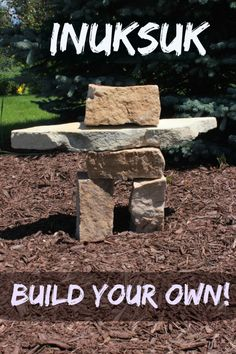 """Inuksuk - A Unique Landscaping Feature! - Sweet Anne Designs I learned something new! Cairns built to resemble a human form are referred to as """"Inuksuk"""" by Inuit Indian Eskimos! Outdoor Projects, Garden Projects, Outdoor Ideas, Backyard Ideas, Diy Projects, Outdoor Art, Garden Crafts, Outdoor Life, Rock Sculpture"""
