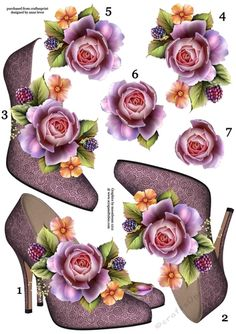 Stunning Shoes & English Roses Decoupage Sheet – Stunning Shoes & English Roses… – Famous Last Words Vintage Baby Pictures, Art Deco Cards, Image 3d, Decoupage Printables, 3d Sheets, Art Journal Techniques, Butterfly Crafts, Fancy Fold Cards, 3d Cards