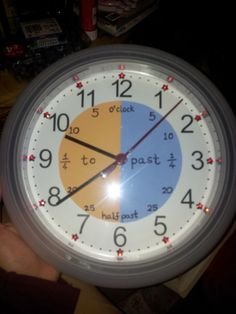 Clock made to help children to tell the time. Used a cheap clock and adapted the inside.