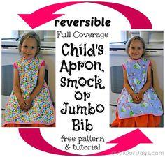 Reversible, Full-Coverage Child's Apron, Smock or Jumbo Bib FREE Pattern & Tutorial @ AllOurDays.com