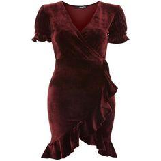 Edwina Mini Dress by Tfnc (802.880 IDR) ❤ liked on Polyvore featuring dresses, burgundy, velvet mini dress, long-sleeve mini dresses, burgundy short dress, red ruffle dress and ruffle sleeve dress