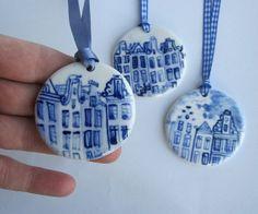 Colgantes Delft con casas del canal