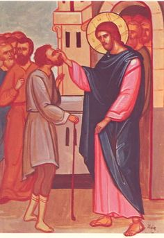 Luke 18:35. The blind beggar cried out to Jesus asking for mercy.