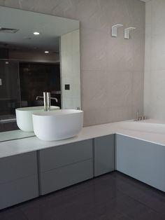 Antonio Lupi bathroom modern interior design, and Apavisa tiles with geometric design. Photo taken at Paradosso7 showroom.