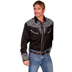 Scully Guitar Svart Westernskjorte | Westernbutikken