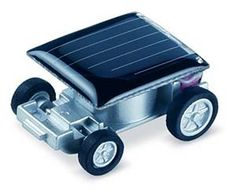 As small as a quarter, faster than a speeding bullet (okay maybe not), and best of all, no batteries required! Show the kids or just show your friends the wonders of solar power in action with the world's smallest solar powered car.