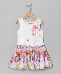 White Floral Alice Lace Tutu Dress - Toddler & Girls