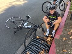 "This ever happen to you? Avoid rolling over sewer grates, even ""bicycle friendly"" ones. (Sorry about the broken thumb, Eric. Get well!) #cycling #wheel #sewergrate #wheelmuncher"