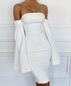 2019 New Sexy Off The Shoulder White Party Club Strapless Long Slit Sleeve Midi Bandage Midi Dress Wholesale Vestidos Elegant White Dress, Dress With Shawl, Off Shoulder Dresses, White Long Sleeve Dress, Spandex Dress, African Fashion Dresses, Cheap Dresses, Mini Dresses, Strapless Dress Formal