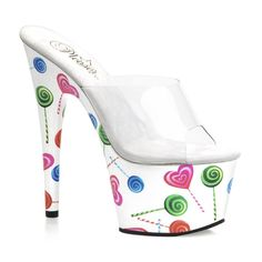 7 Inch Sexy High Heel Shoes Lollipop Shoes White Platforms...Perfect to wear to work.....if you're a stripper!!