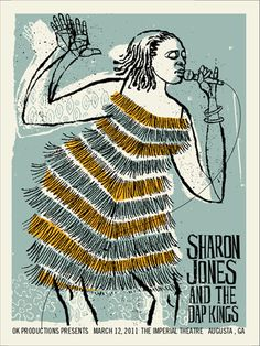 Sharon Jones and the Dap Kings, by Methane Studios Illustrations, Graphic Illustration, Graphic Art, Graphic Design, Festival Posters, Concert Posters, Screen Print Poster, Poster Prints, Dap Kings