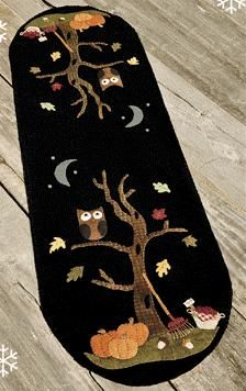 "Wool Felt Central - Wool Felt Patterns   NTH48 An Autumn Mood by Nutmeg Hare  36"" x 11"" wool applique table runner  Pattern: $8.50"