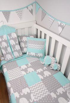 Patchwork cot quilt in mint and grey elephants baby лоскутно Baby Bedroom, Baby Boy Rooms, Baby Room Decor, Baby Boy Nurseries, Nursery Room, Baby Elephant Nursery, Elephant Quilt, Grey Elephant, Baby Elefant