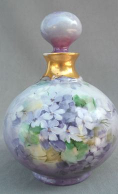 Antique 1903 Limoges French Perfume Bottle R Delinieres Lavender Violets