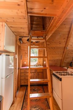 A-frame Cabin For Sale in Skykomish, WA 0032 A Frame House Plans, A Frame Cabin, Interior Stairs, Home Interior Design, Cabins For Sale, Wooden Cabins, Wooden Houses, Cabin Interiors, Cabins In The Woods