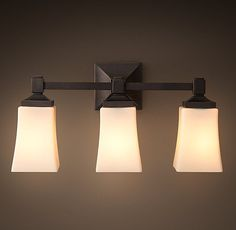 RH& Dillon Triple Sconce:Dillon is a modern classic, with clean lines and thoughtful detailing. Vanity Lighting, Bathroom Lighting, Bathroom Sconces, Bathroom Ideas, Yellow Bathrooms, Bath Light, Guest Bath, Modern Classic, Restoration Hardware
