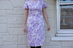 Vintage 50s Purple roses dress Retro Hipster by SycamoreVintage