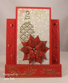 QFTD127 Poinsettia Center Step_lb by Clownmom - Cards and Paper Crafts at Splitcoaststampers
