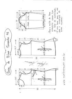 Esquema de modelagem de Base de Blusa tamanho 46.