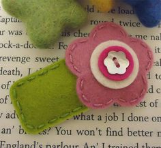 NO SLIP Wool felt hair clip old pink flower and stem by MayCrimson, $7.00