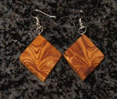 Olive Wood Earrings by OliveWoodJewellery on Etsy