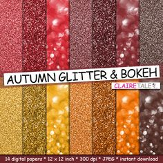 """Buy Autumn digital paper: """"AUTUMN GLITTER & BOKEH"""" paper, backdrop, background in red, yellow, brown for scrapbooking and photographers by clairetale. Explore more products on http://clairetale.etsy.com"""