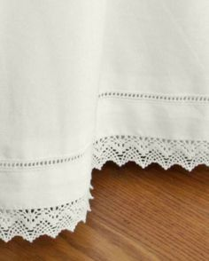 White cotton bedskirt with a hemstitch inset and crochet lace trim Dream Bedroom, Home Bedroom, Bedroom Decor, Linen Pillows, Linen Bedding, Bed Linen, Cute Bedding, Linen Bedroom, Shabby Chic Style