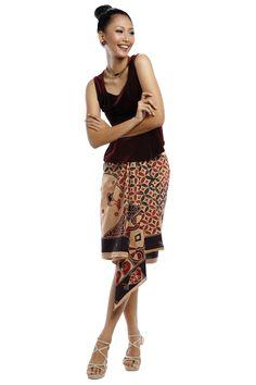 Batik with red velvet top